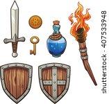 fantasy themed items. vector... | Shutterstock .eps vector #407533948