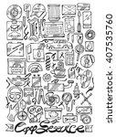 hand drawn car service line... | Shutterstock .eps vector #407535760