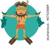 sailor wearing steam punk... | Shutterstock .eps vector #407535889