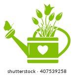 vector tulips in watering can... | Shutterstock .eps vector #407539258