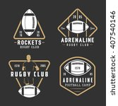 set of vintage rugby and... | Shutterstock .eps vector #407540146