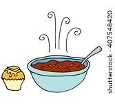 an image of a bowl of chili and ... | Shutterstock .eps vector #407548420