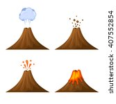 volcano icon set isolated on...