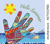 close up of colored hand print... | Shutterstock .eps vector #407552980