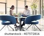 two business colleagues sitting ... | Shutterstock . vector #407572816