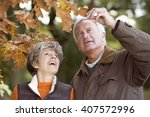 a senior couple admiring an... | Shutterstock . vector #407572996