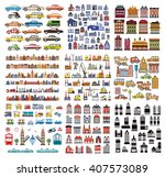 a set of houses and buildings....   Shutterstock .eps vector #407573089