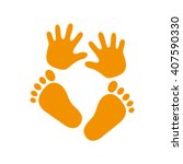 hand foot icon vector... | Shutterstock .eps vector #407590330
