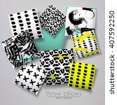 realistic 3d throw pillow...   Shutterstock .eps vector #407592250