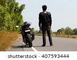 men and motorcycle on road....   Shutterstock . vector #407593444