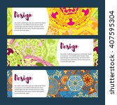 templates banners set. floral... | Shutterstock .eps vector #407595304