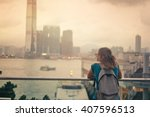 tourist woman on background of...   Shutterstock . vector #407596513