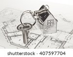 key with keychain in the form... | Shutterstock . vector #407597704