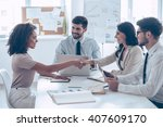 you are hired  two beautiful... | Shutterstock . vector #407609170