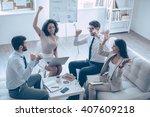 successful team. top view of...   Shutterstock . vector #407609218