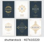 set of vintage cards. vector... | Shutterstock .eps vector #407610220