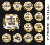 set of  gold and white badges... | Shutterstock .eps vector #407611180