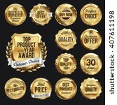 set of  gold badges on black... | Shutterstock .eps vector #407611198