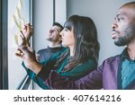 three business people having a...   Shutterstock . vector #407614216