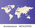 world map with colorful points. ... | Shutterstock .eps vector #407615950
