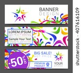 vector colorful banner made of... | Shutterstock .eps vector #407616109