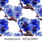 2 pansies pattern watercolor 5 | Shutterstock . vector #407623069