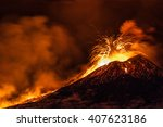 mount etna  produced fountains ... | Shutterstock . vector #407623186