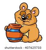 bear honey keg cartoon... | Shutterstock . vector #407625733