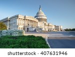 Stock photo the us capitol building in washington dc when the springtime spirea is blooming 407631946