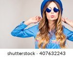 cool hipster student woman... | Shutterstock . vector #407632243