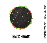 black burger with cheese top... | Shutterstock .eps vector #407632504