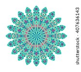 round green and pink mandala.... | Shutterstock . vector #407636143