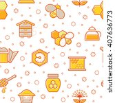 seamless honey pattern with... | Shutterstock .eps vector #407636773