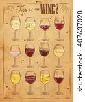 poster main types of wine... | Shutterstock .eps vector #407637028