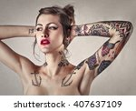 beautiful tattooed woman with... | Shutterstock . vector #407637109