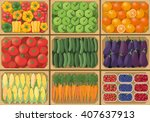 vegetable crates at the farmers ... | Shutterstock .eps vector #407637913