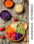 rainbow millet vegetable salad... | Shutterstock . vector #407638663