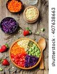 rainbow millet vegetable salad... | Shutterstock . vector #407638663
