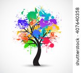 vector colorful abstract tree... | Shutterstock .eps vector #407640358