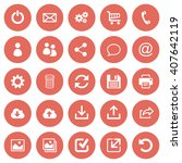 set of 25 flat web icons on red ...