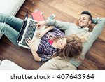 couple shopping online at... | Shutterstock . vector #407643964