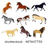 Stock vector collection of vector illustrations with horses on white background elements for design standing 407647750
