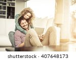 couple of lovers at home... | Shutterstock . vector #407648173