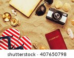 summer vacation accessories on... | Shutterstock . vector #407650798