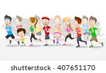 big crowd of people running... | Shutterstock .eps vector #407651170