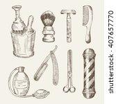 retro illustrations of barber... | Shutterstock .eps vector #407657770