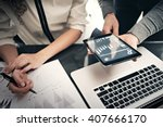 investment department working... | Shutterstock . vector #407666170
