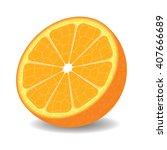 isolated orange half on white... | Shutterstock .eps vector #407666689