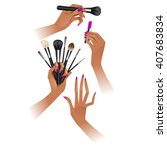 hands with brushes. make up... | Shutterstock .eps vector #407683834