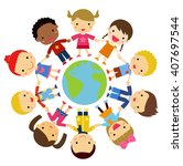 kids and globe | Shutterstock .eps vector #407697544